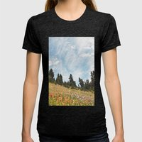 Mountain Flowers In The … Womens Fitted Tee Tri-Black SMALL