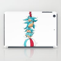 Blue Birds Balancing Boiling Beverages on a Beach Ball iPad Case