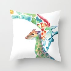 Mummy and Baby Giraffe Throw Pillow