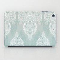 Lace & Shadows - soft sage grey & white Moroccan doodle iPad Case