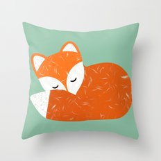 Cute sleeping fox   Throw Pillow
