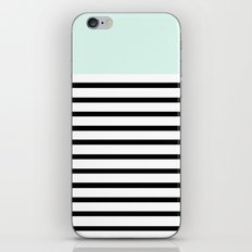 Pinstripe Color Block (Mint) iPhone & iPod Skin