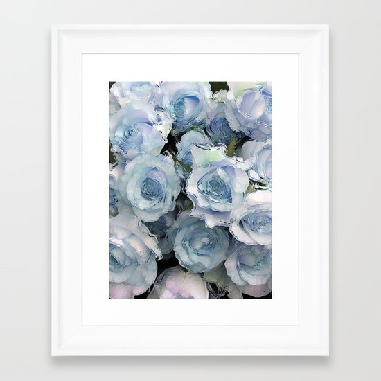 Ice Blue Roses Framed Art Print