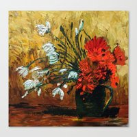 Red Flowers In Green Vase Canvas Print