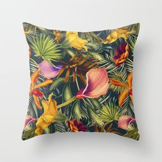 Tropical flowers and leaves pattern Throw Pillow