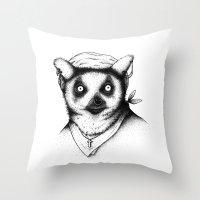 Hipster Lemur Throw Pillow