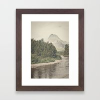 Retro Mountain River Framed Art Print