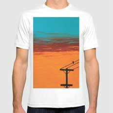 Bird On A Wire White SMALL Mens Fitted Tee
