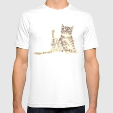 Cheeky Kitty Cat Mens Fitted Tee White SMALL
