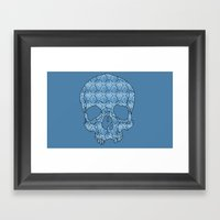Vintage Blue Skull Framed Art Print