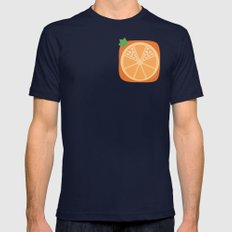 Orange Heart Mens Fitted Tee Navy SMALL