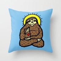 Buddha Sloth Throw Pillow