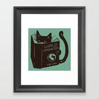World Domination for Cats (Green) Framed Art Print