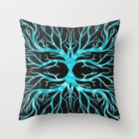 Ghostly Vines (Electric Blue Spirit) Throw Pillow