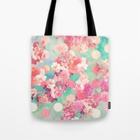Romantic Pink Retro Floral Pattern Teal Polka Dots  Tote Bag