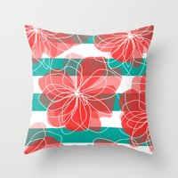 Camelia Coral And Turquo… Throw Pillow