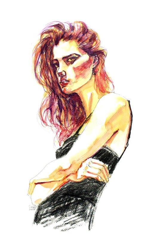 Fashion - Girl in a Black Dress Art Print