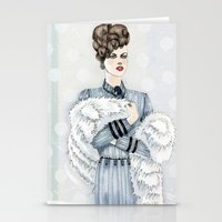 Woman With Fur  Stationery Cards