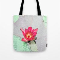art style pretty pink waterlily flower  Tote Bag
