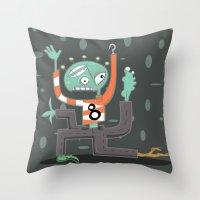 Crazy Alien Throw Pillow