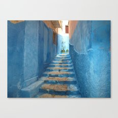 Narrow Blue Stairway In … Canvas Print