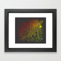 Tiger and zebra Framed Art Print