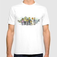 Jurassic World Simpsonized Mens Fitted Tee White SMALL