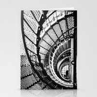 Spiral staircase black and white Stationery Cards