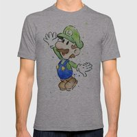 Luigi Watercolor Art Mens Fitted Tee Athletic Grey SMALL