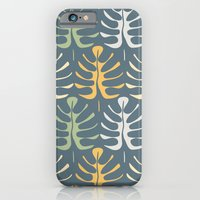 iPhone & iPod Case featuring My  leaves on blue by Juliagrifol designs