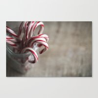 Rustic Candy Canes - Christmas Canvas Print
