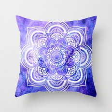Mandala Violet Blue Galaxy Space Throw Pillow