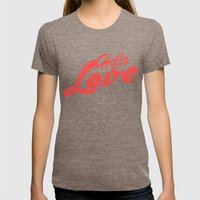 Hello, love | Typography Womens Fitted Tee Tri-Coffee SMALL
