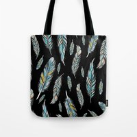 feather black Tote Bag
