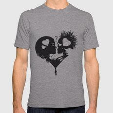 Skull Kiss Mens Fitted Tee Athletic Grey SMALL