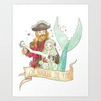 Valentine Mermaid and Pirate Art Print
