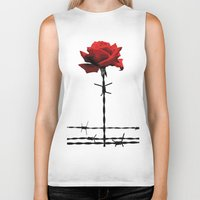 Barbed wire red rose Biker Tank