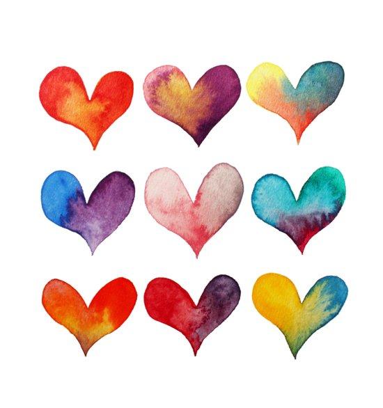 color of hearts Art Print