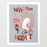 Wear Your Helmet Art Print