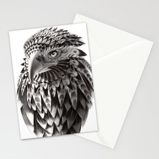 black and white ornate rendered tribal eagle Stationery Cards