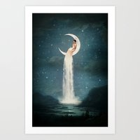 lady gaga Art Prints featuring Moon River Lady by Paula Belle Flores