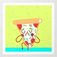 Sad pizza Art Print