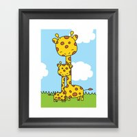 Giraffe Hugs Framed Art Print