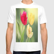 Red & Yellow Tulips Mens Fitted Tee SMALL White