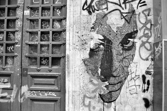 Paris, somewhere on a wall Art Print