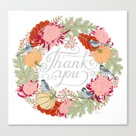 Canvas Print featuring Thanksgiving Thank You C… by Yuliya