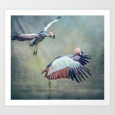 Cranes arriving Art Print