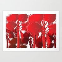 Red Palms. Art Print