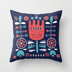 Folksy - Midnight blue Throw Pillow