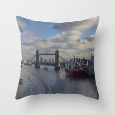 River Thames London waterfall Throw Pillow